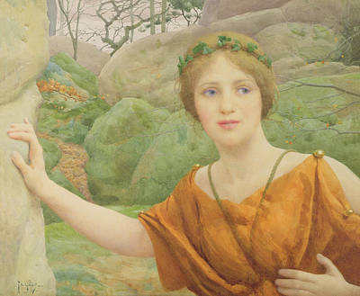 Wood Necklace Painting - The Nymph by Thomas Cooper Gotch