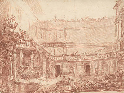 Drawing - The Nymphaeum Of The Villa Di Papa Giulio, Rome by Hubert Robert