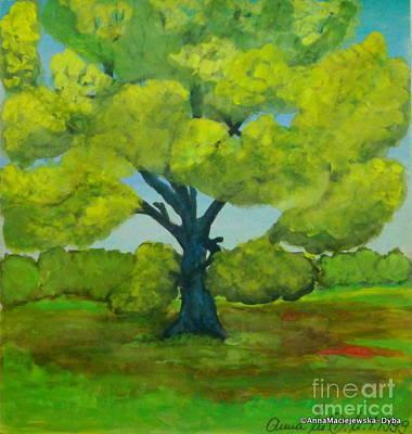 Painting - The Oak Tree In The Spring by Anna Folkartanna Maciejewska-Dyba