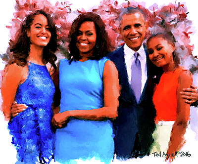 Digital Art - The Obama Family by Ted Azriel