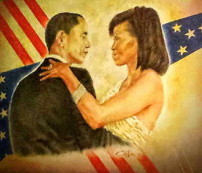 Painting - Barack And Michelle by G Cuffia