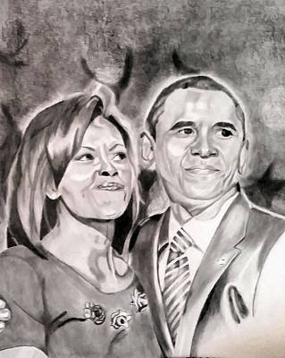 First Lady Michelle Painting - The Obamas by Nina Carpenter