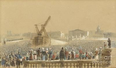 Obelisk Painting - The Obelisk Erection On The Place De La Concorde On October by MotionAge Designs