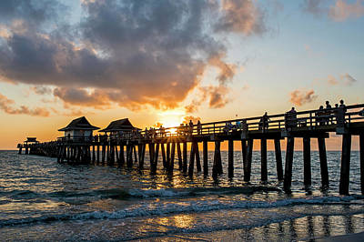 Photograph - Naples Pier At Sunset Naples Florida Fiery Sun by Toby McGuire