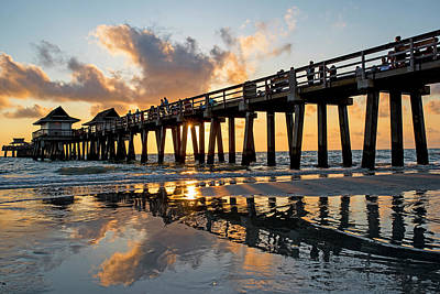 Naples Pier At Sunset Naples Florida Ripples Art Print