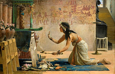 The Obsequies Of An Egyptian Cat Art Print by John Reinhard Weguelin