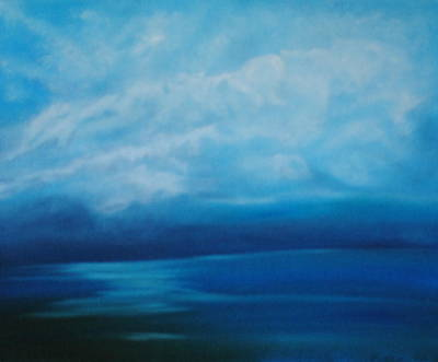 Reflections Of Sky In Water Painting - The Ocean And The Sky by Fiona Dinali