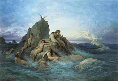 Oceanid Painting - The Oceanides by Gustave Dore