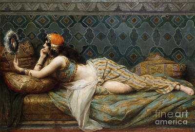Concubine. Harem Girl Painting - The Odalisque by Adrien Henri Tanoux