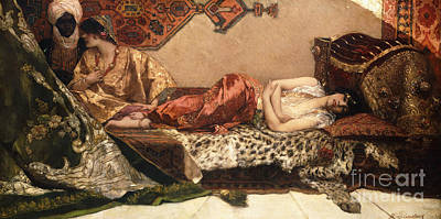 Negro Painting - The Odalisque by Jean Joseph Benjamin Constant