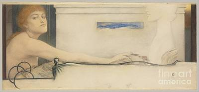 The Offering Painting - The Offering By Fernand Khnopff by MotionAge Designs