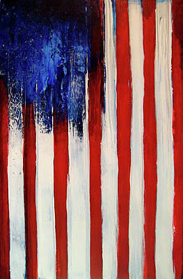 Red White And Blue Mixed Media - The Ogden Flag by Charles Jos Biviano