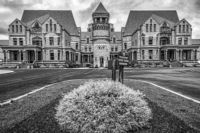 Photograph - The Ohio State Reformatory - Mansfield Prison - Black And White by Gregory Ballos