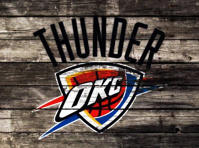 Utah Jazz Wall Art - Mixed Media - The Oklahoma City Thunder W10           by Brian Reaves