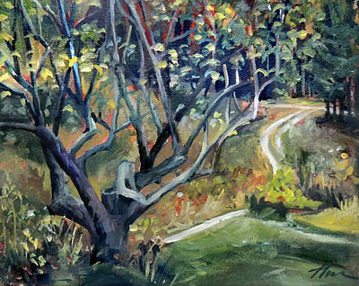 Painting - The Old Apple Tree By The Path by Nancy Griswold
