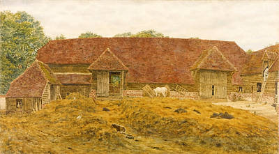Old Barn Drawing - The Old Barn At Whitchurch by George Price Boyce