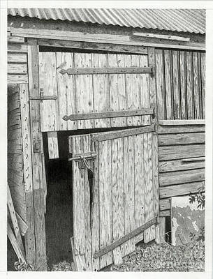 Old Barn Drawing - The Old Barn Door by Denny Adams