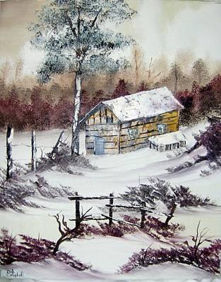 The Old Barn In Winter Art Print