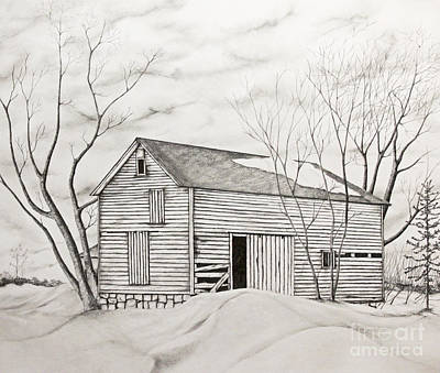 Art Print featuring the drawing The Old Barn Inwinter by John Stuart Webbstock