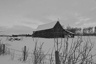 Barns In Snow Photograph - The Old Barn by Sandra Foster