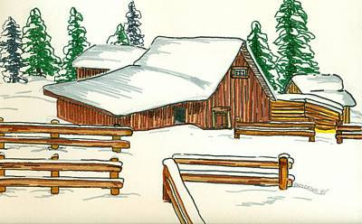 Snow Scene Landscape Drawing - The Old Barn by Sarah Hamilton