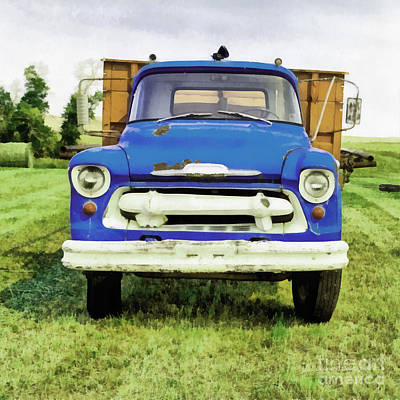 Blue Chevy Photograph - The Old Blue Farm Truck Painting by Edward Fielding