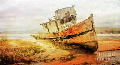 Ship Wreck Painting - The Old Boat By Sarah Kirk by Sarah Kirk