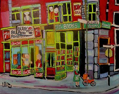 Painting - The Old Book Store Bleury Montreal by Michael Litvack