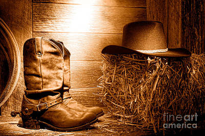 Photograph - The Old Boots - Sepia by Olivier Le Queinec