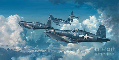 Military Aviation Art Painting - The Old Breed by Randy Green