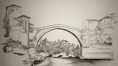American City Scene Drawing - The Old Bridge In Mostar by Ramo Sabanovic