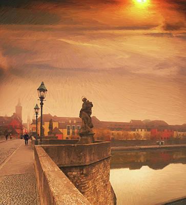 City Sunset Digital Art - The Old Bridge In Wuerzburg by Alex Lim