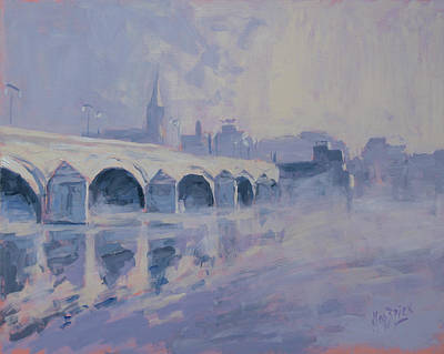 Meuse Painting - The Old Bridge Of Maastricht In Morning Fog by Nop Briex
