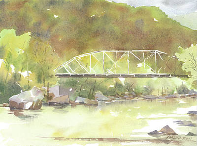 Trussed Painting - The Old Bridge Over The New by Jeff Mathison