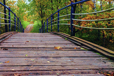 Photograph - the old bridge over the river invites for a leisurely stroll in the autumn Park by George Westermak