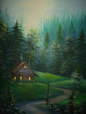 Painting - The Old Cabin Down A Country Road by Debra Campbell