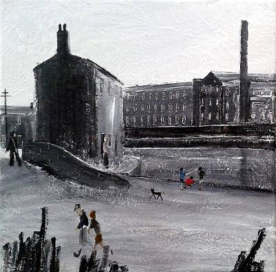 City And Colour Painting - The Old Canal by Walker Scott British Industrial Northern Art