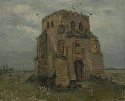 Painting - The Old Church Tower At Nuenen The Peasants  Churchyard   Nuenen May  June 1885 Vincent Van Gogh by Artistic Panda