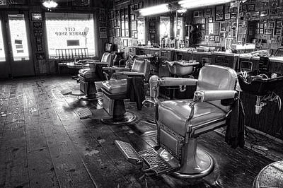 Photograph - The Old City Barber Shop In Black And White by Greg Mimbs