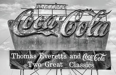 Coca-cola Sign Photograph - The Old Coke Sign In Black And White by JC Findley
