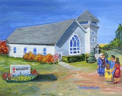 Painting - The Old Country Church by Carol L Miller