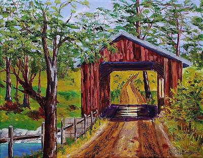 Painting - The Old Covered Bridge by Mike Caitham