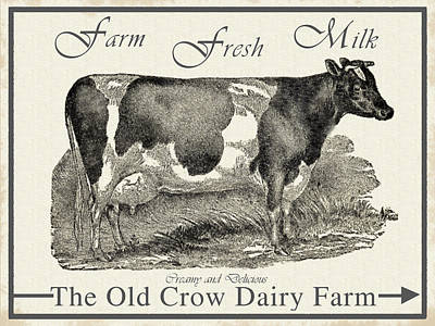 Drawing - The Old Crow Dairy Farm by Vintage Pix