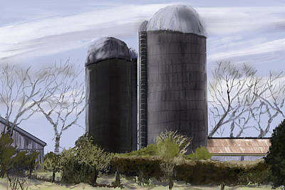Old Barn Drawing - The Old Farm by Barry Jones