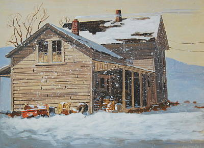 Berkshire Hills Painting - the Old Farm House by Len Stomski