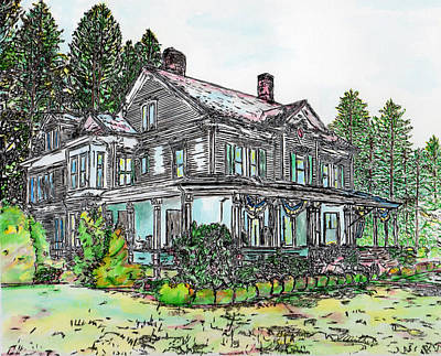 Drawing - The Old Farm House by Michele Loftus