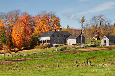 Split Rail Fence Photograph - The Old Farm In Autumn by Louise Heusinkveld