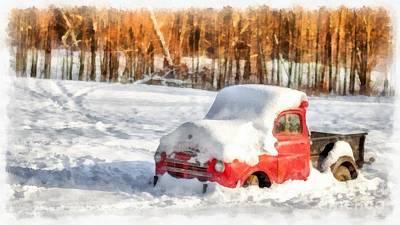 Digital Art - The Old Farm Truck In The Snow by Edward Fielding