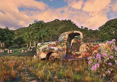 Digital Art - The Old Farm Truck by Mary Almond