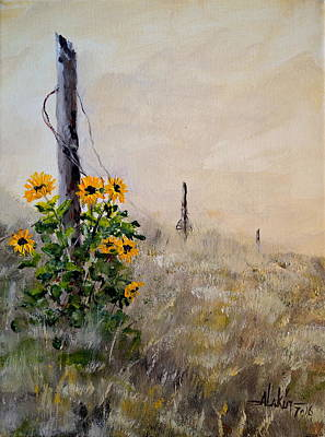 Painting - The Old Fence by Alan Lakin